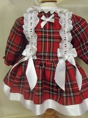 Dream Spanish Traditional Xmas Red Tartan  Fully Lined  Dress 0-7 Years