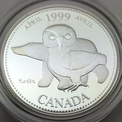 1999 Proof Canada 25 Cents Silver Quarter Canadian April Coin Not In Case C487