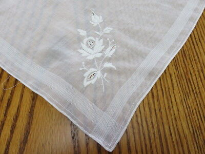 "Vintage Hankie/handkerchief - White Embroidered Flowers - 11"" By 11"""