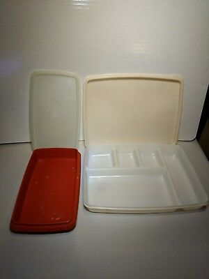 Tupperware divided microwave rectangular lunch bowls containers lids lot set 2