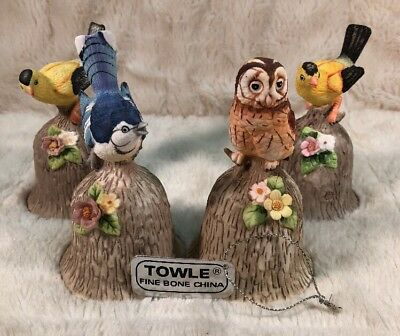 Lot Of 4 Vintage TOWLE Fine Bone China Hand Held Bell W/Bird Owl Handle 4 1/2""