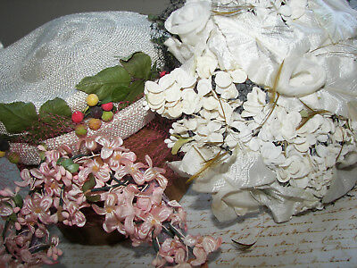 ANTIQUE VINTAGE HAT LOT w PINK LILACS MILLINERY FLOWERS FRENCH DOLLS HEADBAND
