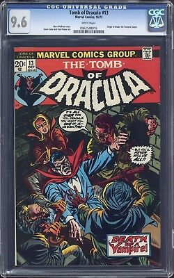 Tomb of Dracula #13 CGC White Pages 9.6 Origin of Blade