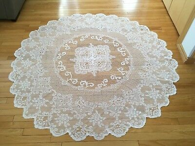 "Lace Flower Tablecloth  - White  - 68"" Diameter - Round"