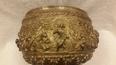 Exceptional quality large antique Burmese repousse and chased silver bowl
