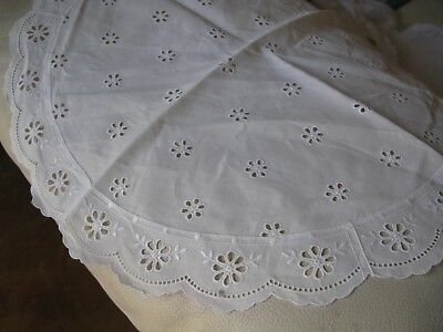 Antique White Work Eyelet Embroidery Lace French Doll Craft Cotton Runner 16""