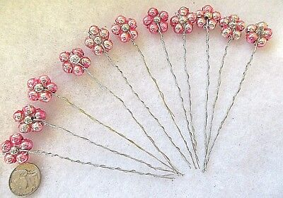 11 Vintage Mercury Bead  Flower Shapes=Pink =Christmas Decorations=Crafts=Baby
