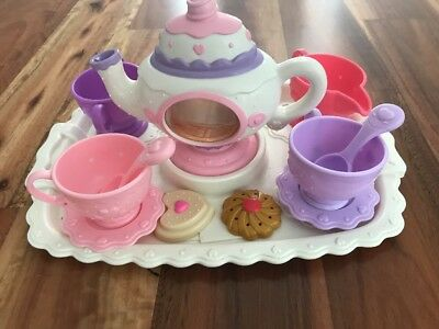 Fisher Price Magical Tea Set For 2 Hardly Used Teapot Cups Spoons Biscuits Tray