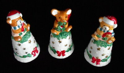 3 Vintage Ceramic Christmas Bells: 2 Teddy Bears & Candy Cane 1 Mouse & Wreath