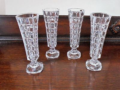 4 vintage Cristal D'arques Soliflor glass vases ~ flower arranging ~ Christmas