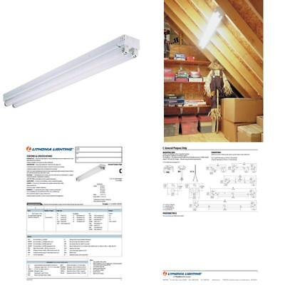 Led 4Ft Utility Shop Garage 2 Light 40W T12 Ceiling Fixture Bright White 48X5X5
