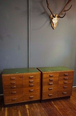 Antique Laboratory Bank of Drawers in Teak Specimen Apothecary