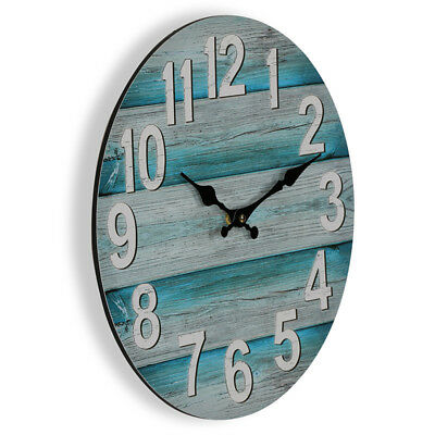 Teal and Grey Boards Wall Clock 34cm | Beach Clock Coastal Decor
