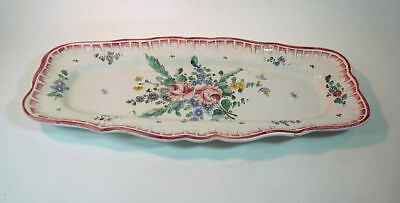 Antique French Traditional Long Fish Platter Hand Painted Flowers Rare
