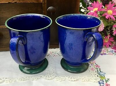 DENBY METZ c1990s FOOTED MUG SET OF 2 - SPECKLED BLUE WITH GREEN FOOT AND RIM
