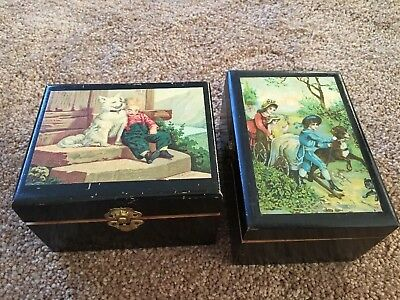 Pair Of Early Antique Wooden Boxes Black Laquer Rare Lithograph Lids