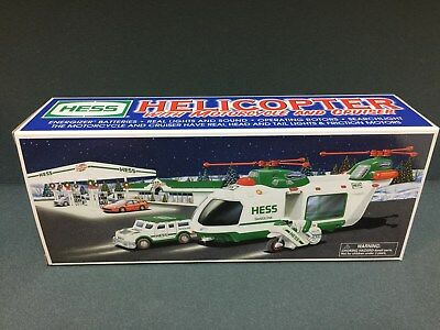 NEW 2001 HESS Toy Truck Helicopter With Motorcycle & Cruiser  FREE SHIPPING