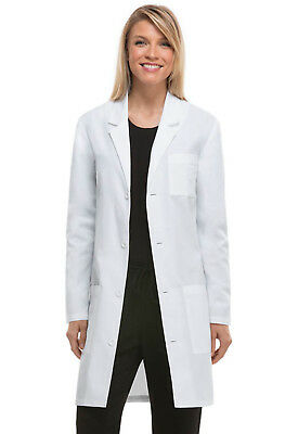 """White Dickies EDS Unisex 37"""" Lab Coat 83402AB WHWZ Antimicrobial Fluid Barrier"""
