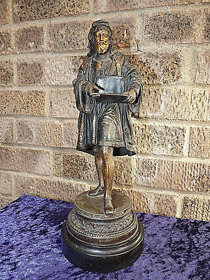 Victorian Bronzed Spelter Figure of a 17th Century Italian Scholar Restored