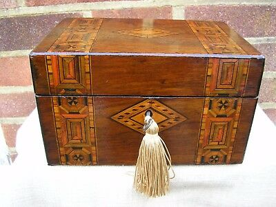 NICE VICTORIAN c 1880 TUNBRIDGE STYLE INLAY WALNUT JEWELLERY BOX LIFT OUT TRAY.