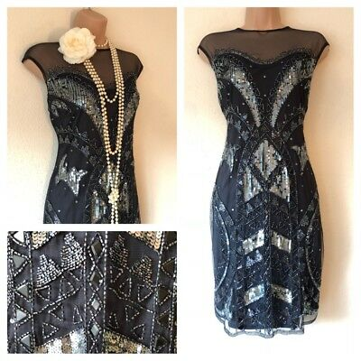 NWT Sequin Beaded Embellished Dress 20's Gatsby in L 12 Deco Flapper