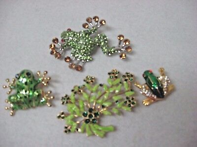 new LOT 4 FROG pin brooches crystal enamel  Green floral
