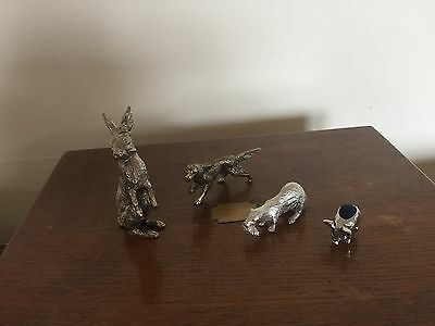 Lovely Lot Of 4  Silver Plated Animal Figures The Pig One Is A Pin Cushion