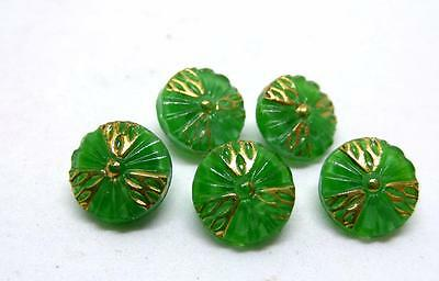 (5) Vintage Green & Gold Luster Tri wheel design Moonglow Glass Buttons NOS