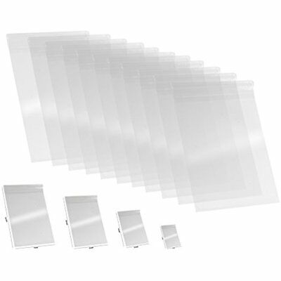 100 Pcs Cellophane Wrap 9x12 Clear Resealable Bags 1.2 MIL Glossy Self Seal For