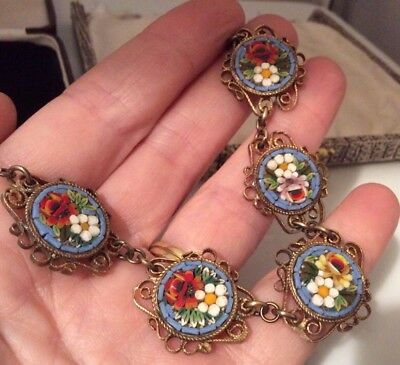 Vintage Jewellery Gorgeous Signed Italian Micro Mosaic Necklace