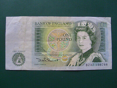 Bank of England  One Pound Note, Sir Isaac Newton Nr BZ37 198788 - Originalfotos