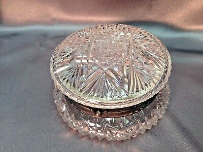 Fine Antique American Brilliant Cut Glass Silver Hinged Jewelry Trinket Box