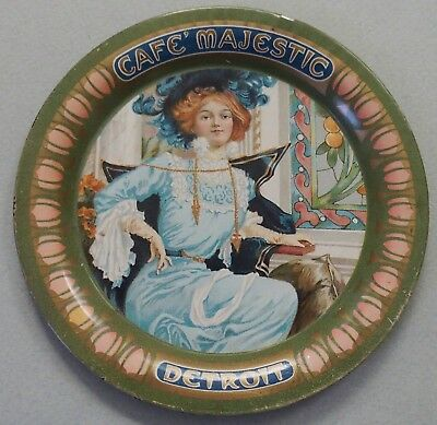 Really Pretty Advertising Tip Tray Beautiful Victorian Lady Cafe Majestic