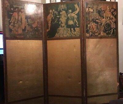 Victorian  Decoupage Leather Three Fold Screen