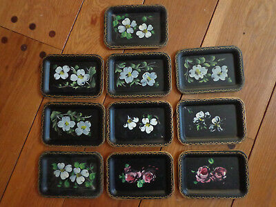 Vintage Nashco Hand Painted Trays Toleware (Black)