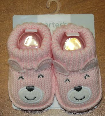 New Carters Baby Girls Pink Booties With Animal Face Sz Nb