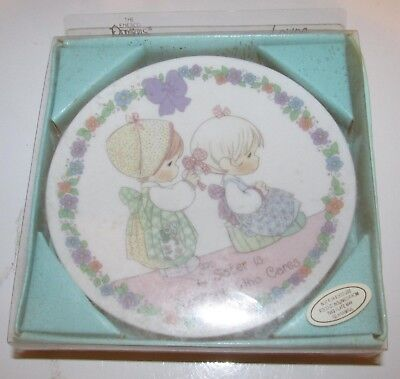 Precious Moments Mini Decorative Collector Plate 4 Inch A SISTER CARES 1992 NEW