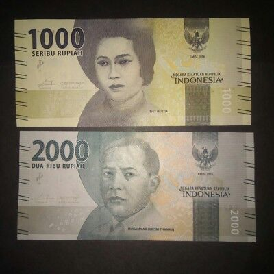 Indonesia 1000 and 2000 Rupiah 2017 UNC