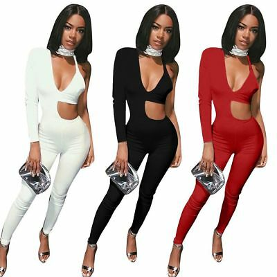 Women Sexy One Shoulder Deep V Neck Bodycon Playsuit Cocktail Jumpsuit Rompers
