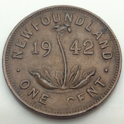 1942 Newfoundland Canada One 1 Small Cent Copper Penny Canadian Coin C525