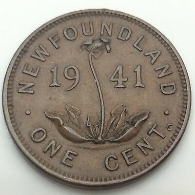 1941 Newfoundland Canada One 1 Small Cent Copper Penny Canadian Coin C526