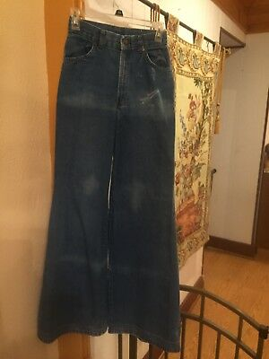Womens Vintage 70s High Waisted Bell Bottom Blue Jeans Hippie
