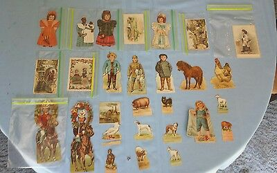 1800s coffee advertising cards and stand up paper dolls lot of 28