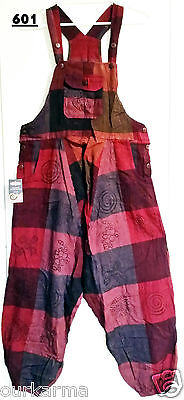 Handmade Fair Trade Funky Festival Hippy Boho Geometric Patchwork Color Overalls