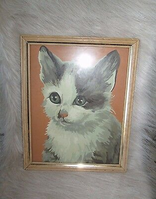 Vintage Retro Green eyed Fluffy Kitty Cat Glass Framed Paint By Number Painting