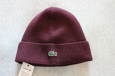 LACOSTE MEN/'S RIBBED WOOL TURNED EDGE BEANIE HAT NAVY BLUE RB2749-51-59k