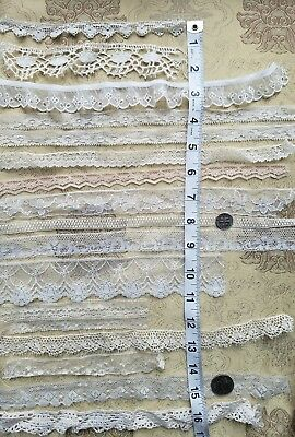 A37 Antique Lace Trim Edging Insert Dainty Yards Sewing Dolls Clothes Lot of 16