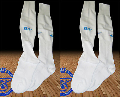 2 pairs New NIKE ZENIT ST PETERSBURG White Football Socks Youth Boys UK 2.5-7