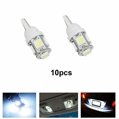 10pcs 501 T10 W5W 5 SMD LED WEDGE CAPLESS SIDE LIGHT BULBS BRIGHT WHITE UK
