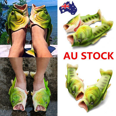 Men Women Funny Fish Shaped Soft Slippers Flats Summer Beach Flip Flop Shoes